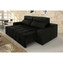 Sofá 3 Lugares Connect Plus Retrátil E Reclinável Suede Amassado  Preto - Rifletti estofados