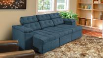 Sofá 3 Lugares Glamour 2,25m Retrátil e Reclinável Suede Amassado Azul - SOFT PLUS -