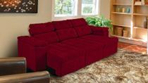 Sofá 3 Lugares Glamour 2,25m Retrátil e Reclinável Suede Amassado Vermelho - SOFT PLUS -