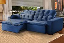Sofá 3 Lugares Retrátil e Reclinável Alasca 200 cm Pillow TECIDO SUEDE -  MegaSul Cor Azul -