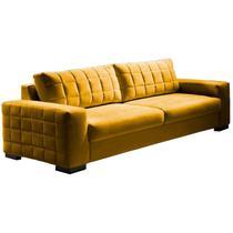 Sofá 4 Lugares Amarelo em Veludo 2,40m Athor - John jacobs