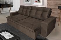 Sofá 4 Lugares Argos 2,50m com Pillow Retrátil e Reclinável Veludo Marrom - Rifletti Estofados