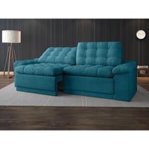 Sofa 4 Lugares Confort Retrátil e Reclinável Turquesa 2,20m - Netsofas