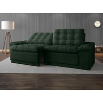 Sofa 4 Lugares Confort Retrátil e Reclinável Verde 2,20m - Netsofas