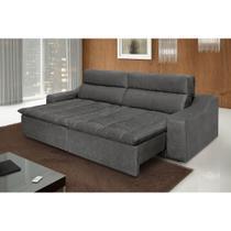 Sofá 4 Lugares Connect com Pillow Retrátil e Reclinável Suede Amassado Cinza - Rifletti estofados