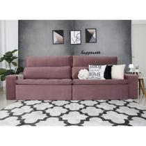 Sofá 4 Lugares Connect Com Pillow Veludo Rosê 2,50m Retrátil e Reclinável - Rifletti Estofados