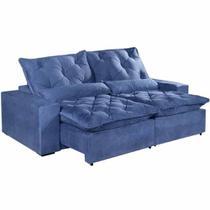 Sofá 4 Lugares Elegance Retrátil e Reclinável com Tecido Suede de 230cm Cor Azul - Estrela Móveis