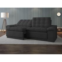 Sofá 4 Lugares Net Confort Assento Retrátil e Reclinável Cinza Escuro 2,20m (L) - Netsofas
