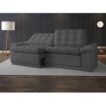 Sofá 4 Lugares Net Confort Assento Retrátil e Reclinável Grafite 2,20m (L) - Netsofas