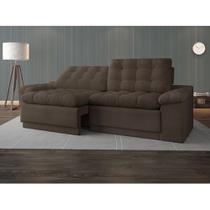 Sofá 4 Lugares Net Confort Assento Retrátil e Reclinável Marrom Claro 2,20m (L) - Netsofas