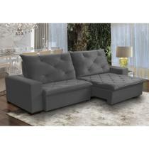 Sofá 4 Lugares Personalle Retrátil e Reclinável Pillow 230 x 170 cm Cm Veludo Cinza - Megasul -