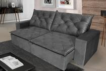 Sofá 4 Lugares Quality com Pillow Retrátil e Reclinável 2,30m Veludo Grafite - Rifletti Estofados
