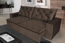 Sofá 4 Lugares Quality com Pillow Retrátil e Reclinável 2,30m Veludo Marrom - Rifletti Estofados