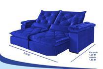 Sofá 4 Lugares Retrátil e Reclinável 2,50 mts Valência Suede Azul - Outlet Sofás E Colchões