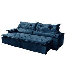 Sofá 4 Lugares Retrátil e Reclinável Agatha Tecido Suede 240cm Cor Azul - Estrela Móveis