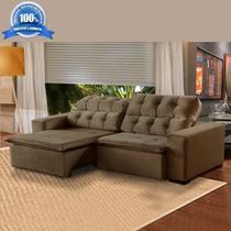 98839aacb Sofá 4 Lugares Retrátil e Reclinável Alasca 230 Cm Pillow Veludo Marrom512  MegaSul