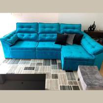 Sofá 6 Lugares Super Chaise Retrátil 290x235 Cm Assento Reclinável Canto Dallas Azul MegaSul -