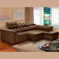 Sofá 6 Lugares Super Chaise Retrátil 290x235 Cm Assento Reclinável Canto Dallas Marrom MegaSul -