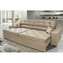 Sofá Austin. 2,22m Retrátil, Reclinável com Molas no Assento e Almofadas, Tecido Suede Azul - Cama Inbox