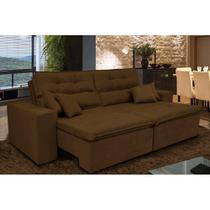 Sofá Cairo 1,82m Retrátil, Reclinável com Molas no Assento e 4 Almofadas Suede Café - Cama InBox -