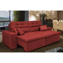 Sofá Cairo 2,02m Retrátil, Reclinável com Molas no Assento e 4 Almofadas Tecido Suede Vermelho - Cama InBox -