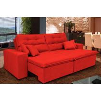 Sofá Cairo 2,32m Retrátil, Reclinável com Molas no Assento e 4 Almofadas Tecido Suede Vermelho - Cama InBox -