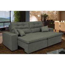 Sofá Cairo 2,52m Retrátil, Reclinável com Molas no Assento e 4 Almofadas Tecido Suede Cinza - Cama InBox -