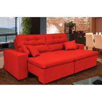 Sofá Cairo 2,52m Retrátil, Reclinável com Molas no Assento e 4 Almofadas Tecido Suede Vermelho - Cama InBox -