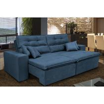 Sofá Cairo 2,52m Retrátil, Reclinável Molas no Assento e 4 Almofadas Tecido Suede Azul - Cama InBox -