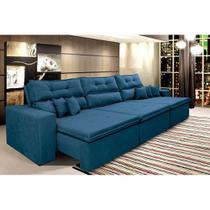 Sofá Cairo 3,82m Retrátil, Reclinável Molas no Assento e 6 Almofadas Tecido Suede Azul - Cama InBox -