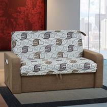 Sofá Cama 2 Lugares Daiane Com Baú 00004.0123168 Marrom/Estampado - Matrix móveis