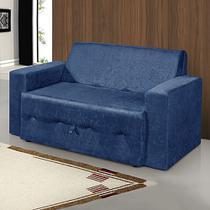 Sofá-Cama 2 Lugares Pratik 5000 Mamflex Azul Suede Amassado -