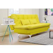 Sofá-Cama 3 Lugares Casal com Chaise Versátil Veludo Liso Amarelo - Império Estofados