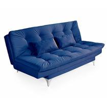 Sofá-Cama 3 Lugares Casal com Chaise Versátil Veludo Liso Azul Marinho - Império estofados