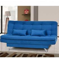 Sofá Cama 3 Lugares com 2 Almofadas Salomé Matrix Suede Amassado Azul -