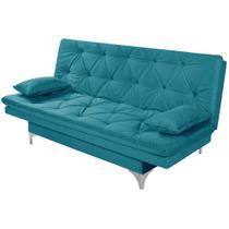 Sofá Cama 3 Lugares reclinável Estofados Azul Turquesa - Essencial Estofados -