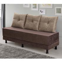 Sofa Cama 3 Lugares Suede Amassado Requinte Hellen Castor/Café - Hellen estofados