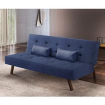 Sofá Cama 3 Lugares Tendence Luxury Estofados Azul -