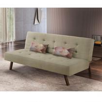 Sofá Cama 3 Lugares Tendence Luxury Estofados Bege -
