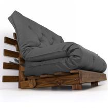 Sofá Cama Casal Futon Tokio Cinza Madeira Maciça Cor Imbuia - R9 design futon