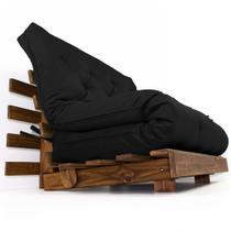 Sofá Cama Casal Futon Tokio Preto Madeira Maciça Cor Imbuia - R9 design futon