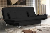 Sofa Cama Pés Cromados E Almofadas Salomé Suede Preto - V7 Decor Móveis