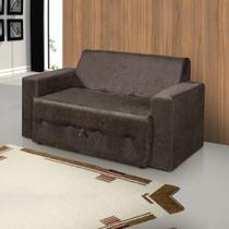 Sofá-cama Pratik 5000 Mamflex Marrom Suede Amassado -
