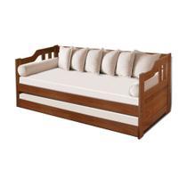 Sofa Cama Solteiro de Madeira com Cama Auxiliar Atraente - Imbuia - Maismadeira