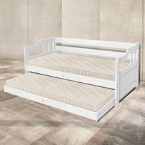 Sofá cama solteiro de madeira maciça com cama auxiliar Atraente branca -