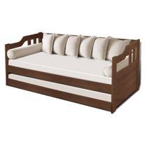 Sofa cama solteiro de madeira maciça com cama auxiliar e colchão Atraente imbuia -