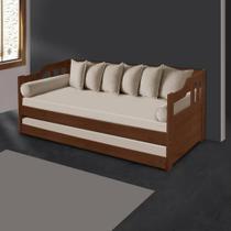 Sofá cama solteiro de madeira maciça com cama auxiliar e colchão Atraente Noce -