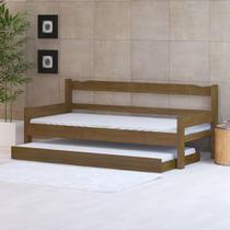Sofá cama solteiro de madeira maciça com cama auxiliar Nemargi Imbuia -