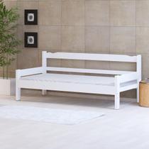 Sofá cama solteiro de madeira maciça Nemargi Branco -