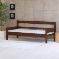 Sofá cama solteiro de madeira maciça Nemargi Castanho -
